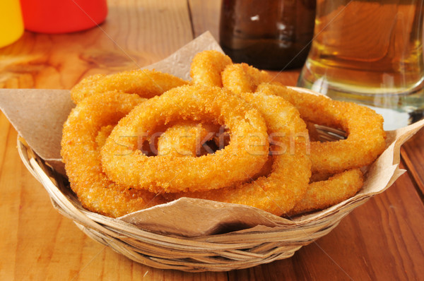 Basket of onion rings Stock photo © MSPhotographic