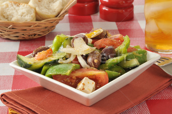 Greek salad with rolls Stock photo © MSPhotographic