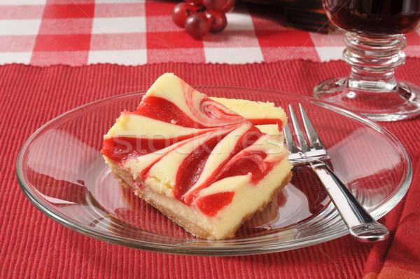 Zengin strawberry cheesecake dilimleri gurme kahve gıda Stok fotoğraf © MSPhotographic