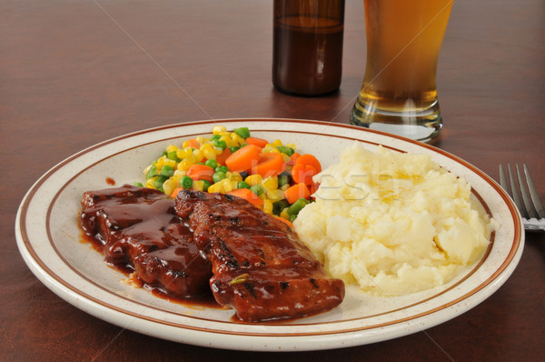 Barbecued pork and beer Stock photo © MSPhotographic