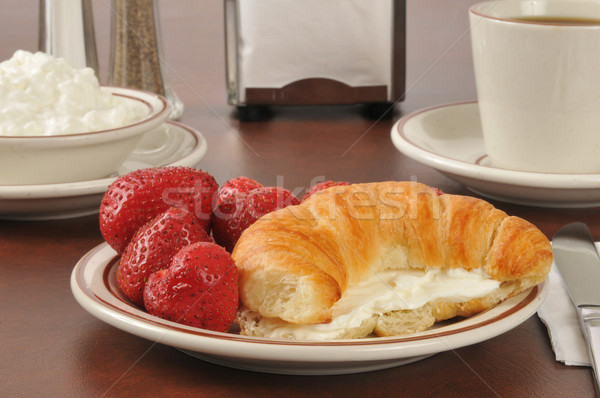 Croissant with strawberries and cream cheese Stock photo © MSPhotographic