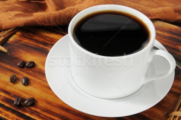 черный кофе Кубок горячей бобов кофе Сток-фото © MSPhotographic