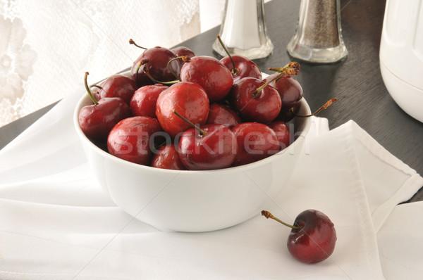 Bowl of fresh cherries Stock photo © MSPhotographic