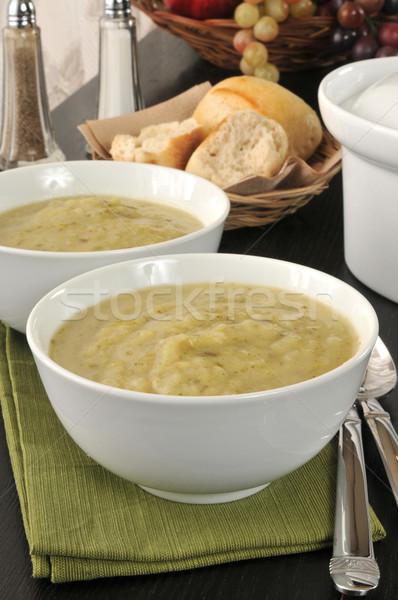 Krumpli póréhagyma leves tálak vacsora tekercsek Stock fotó © MSPhotographic