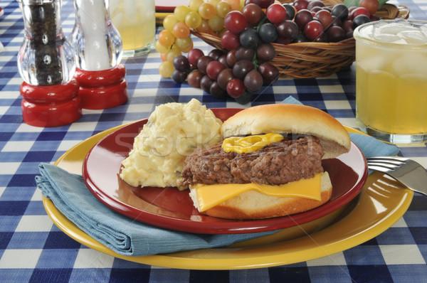 Cheeseburger insalata di patate tavolo da picnic bere picnic patate Foto d'archivio © MSPhotographic