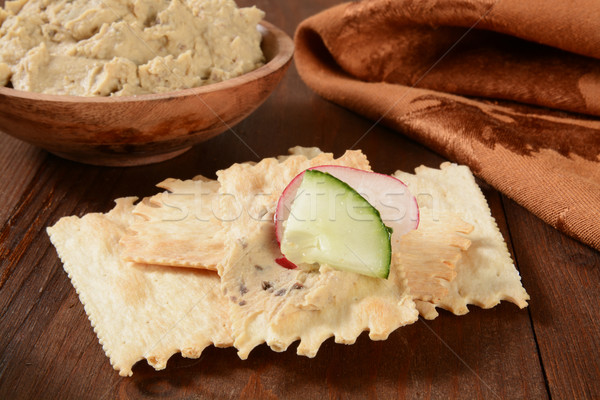 flatbread crackers and hummus Stock photo © MSPhotographic
