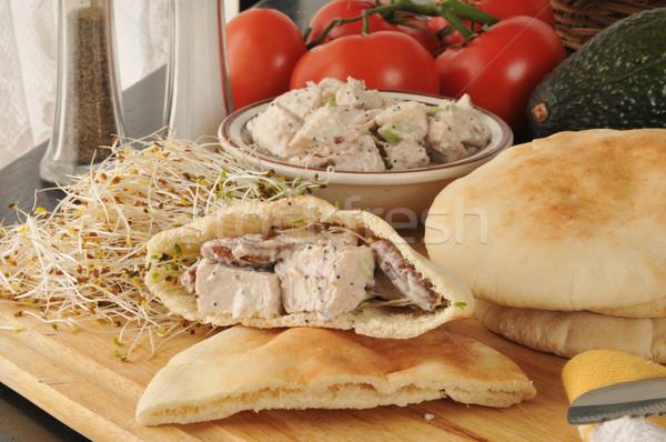 Csirkesaláta pita szendvicsek hozzávalók étel kenyér Stock fotó © MSPhotographic