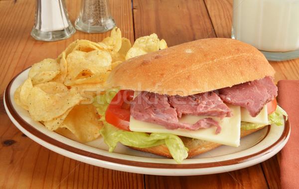 Roast beef sandwich with potato chips Stock photo © MSPhotographic