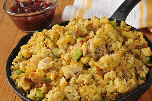 Cornbread stuffing with turkey bits Stock photo © MSPhotographic