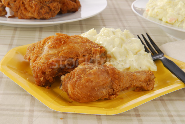 Fried chicken on a picnic plate Stock photo © MSPhotographic