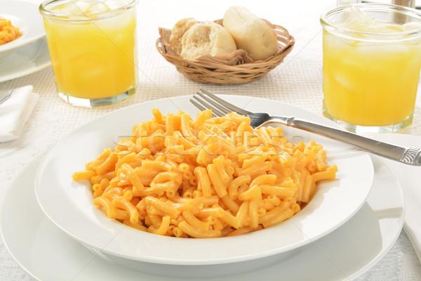 Makarna peynir büyük çanak cam portakal suyu Stok fotoğraf © MSPhotographic
