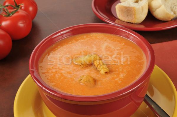 Creamy tomato soup Stock photo © MSPhotographic