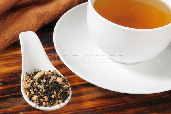 Bitkisel çaylar sağlıklı örnek kaşık çay fincanı çay Stok fotoğraf © MSPhotographic