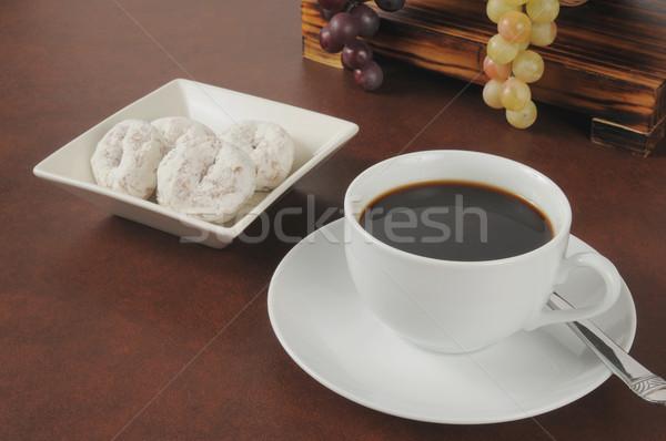 кофе Кубок сахарная пудра торт продовольствие Сток-фото © MSPhotographic
