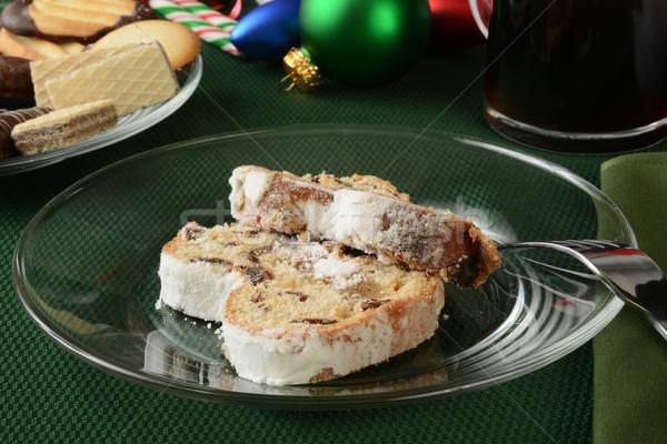 Stockfoto: Christmas · heerlijk · marsepein · cookies · vruchten · beker