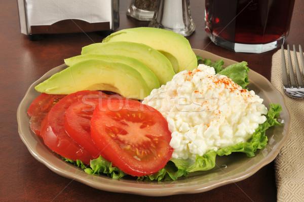Egészséges étrend ebéd tányér túró paradicsom avokádó Stock fotó © MSPhotographic