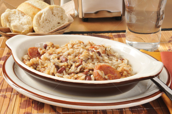 Sausage bean and rice casserole Stock photo © MSPhotographic