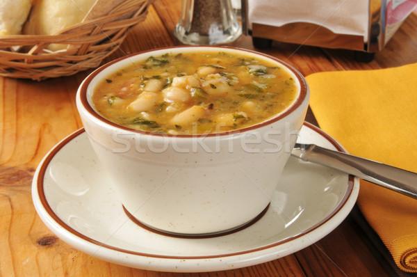 Branco sopa de feijão copo saudável feijão sopa Foto stock © MSPhotographic