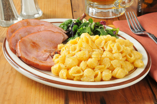 Ham with macaroni and cheese Stock photo © MSPhotographic