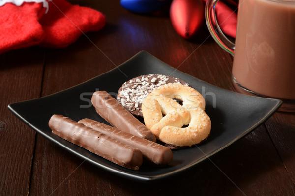 Karácsony sütik csokoládé narancs forró csokoládé étel Stock fotó © MSPhotographic