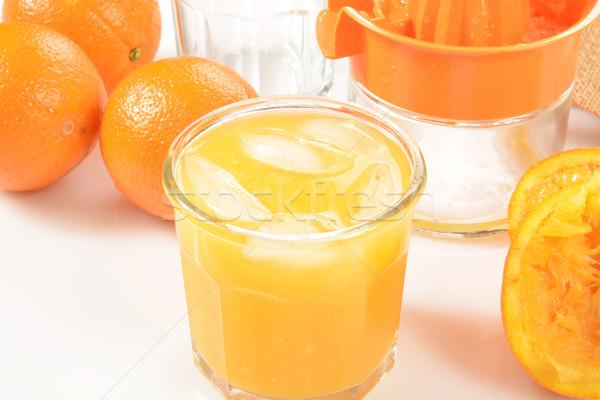 апельсиновый сок стекла свежие органический оранжевый льда Сток-фото © MSPhotographic