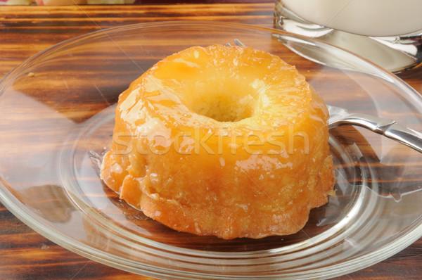 Ananas ondersteboven cake klein glas melk Stockfoto © MSPhotographic