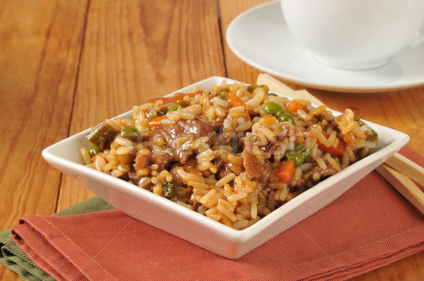 Pepper steak with rice Stock photo © MSPhotographic