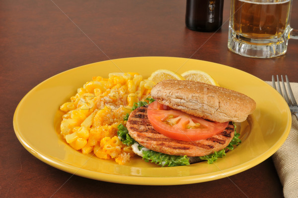 Salmon burger with mac and cheese Stock photo © MSPhotographic