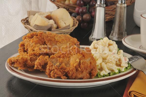 жареная курица макароны Салат обеда продовольствие Сток-фото © MSPhotographic