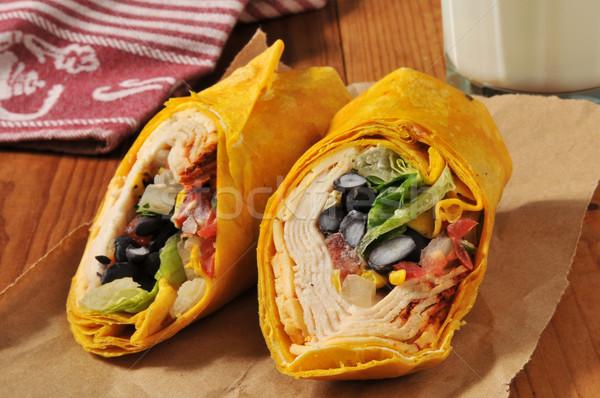 Southwestern chipotle chicken wrap sandwich Stock photo © MSPhotographic