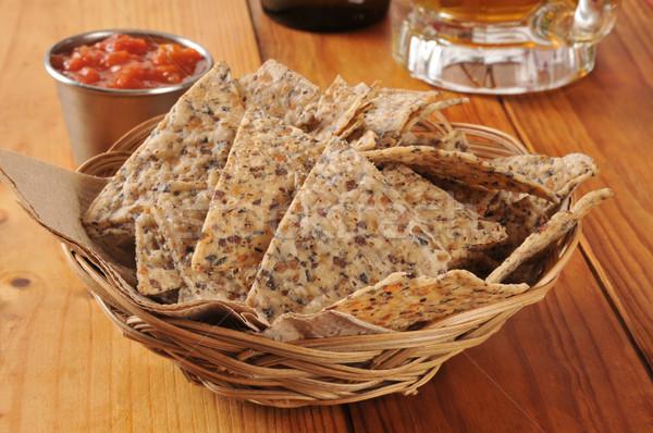 Rijst boon tortilla chips gezonde bonen Stockfoto © MSPhotographic
