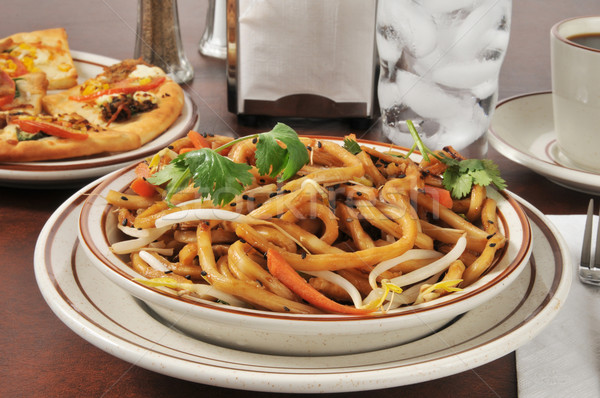 Japanese pan noodles with flatbread appetizers Stock photo © MSPhotographic