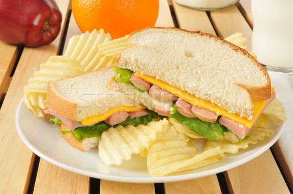 vienna sausage sandwich with potato chips Stock photo © MSPhotographic