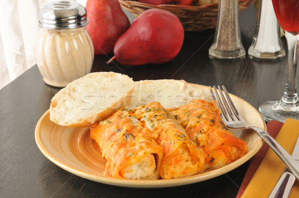 Manicotti with buttered bread and wine Stock photo © MSPhotographic