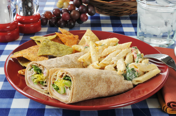 Chicken wrap sandwiches with pasta salad Stock photo © MSPhotographic