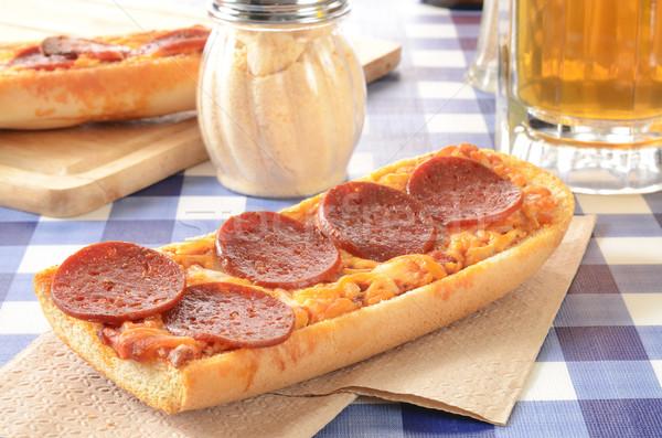 Francia kenyér pizza piknik asztal bögre sör üveg Stock fotó © MSPhotographic