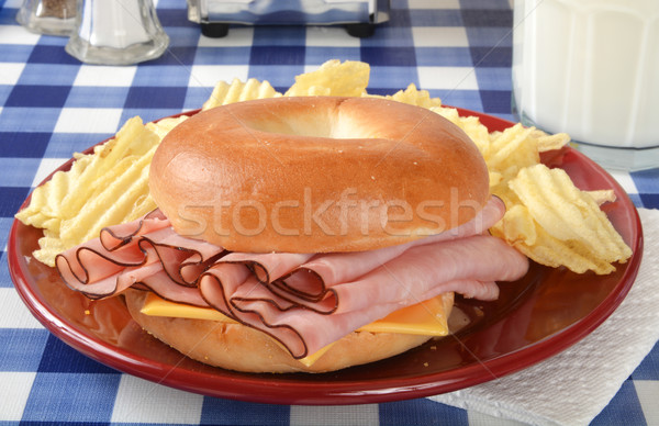 Jambon peynir simit sandviç cam süt Stok fotoğraf © MSPhotographic