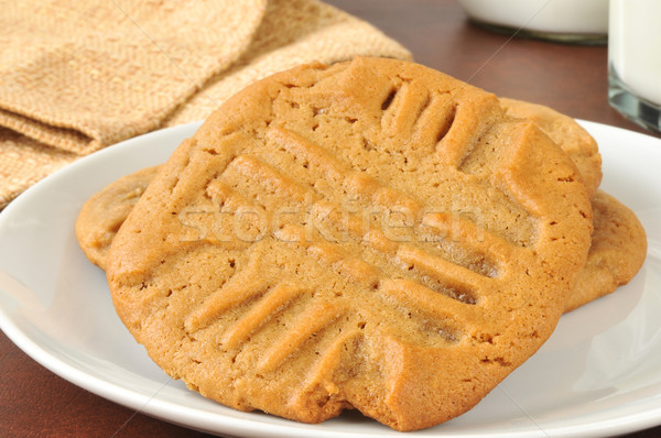 Eigengemaakt pindakaas cookies glas Stockfoto © MSPhotographic