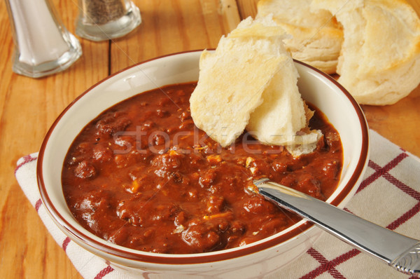 Chili con carne with biscuits Stock photo © MSPhotographic