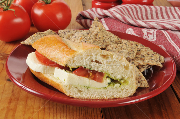 Caprese sandviç tortilla cips pirinç fasulye Stok fotoğraf © MSPhotographic