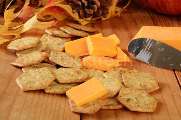 Cheddar cheese and basil crackers Stock photo © MSPhotographic
