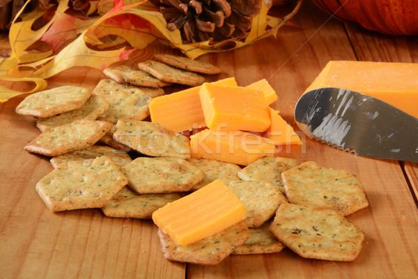 Cheddar ser bazylia pełnoziarniste nasion plastry Zdjęcia stock © MSPhotographic