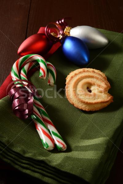 Cukorka karácsony sütik vaj szalvéta díszek Stock fotó © MSPhotographic