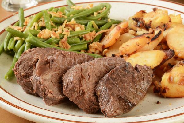Roast beef and garlic potatoes Stock photo © MSPhotographic