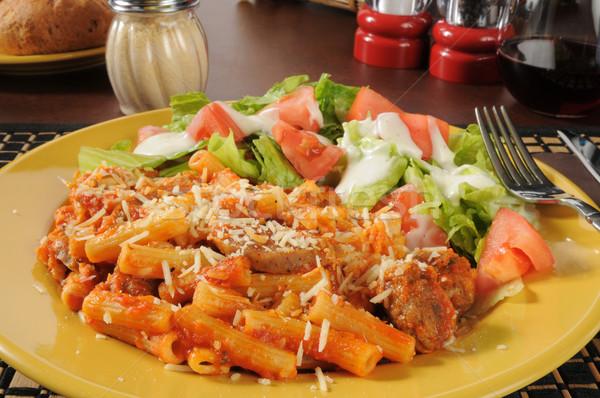Rigatoni with Italian sausage and marinra sauce Stock photo © MSPhotographic