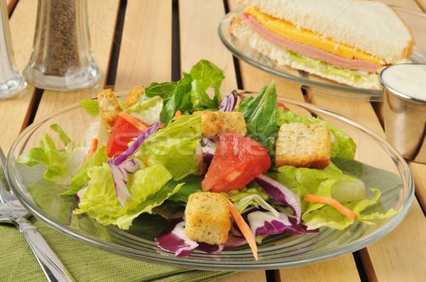 Saláta sajt szendvics friss kert étel Stock fotó © MSPhotographic