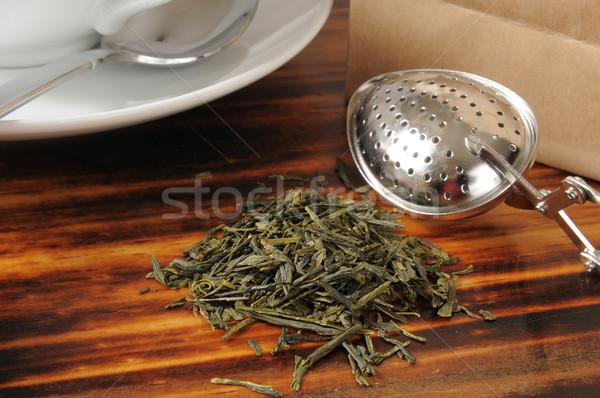 Ganze Blatt Grüntee counter Tee Tasche Stock foto © MSPhotographic