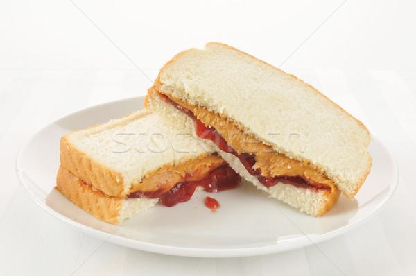 Burro di arachidi gelatina sandwich alto chiave fragola Foto d'archivio © MSPhotographic
