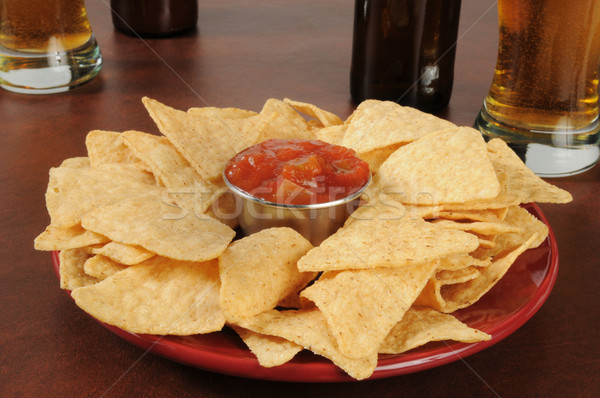 Chips and salsa with beer Stock photo © MSPhotographic