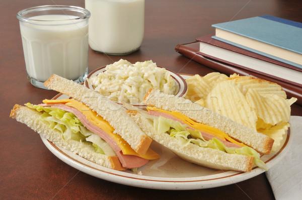 сэндвич капустный салат сыра школы книгах стекла Сток-фото © MSPhotographic